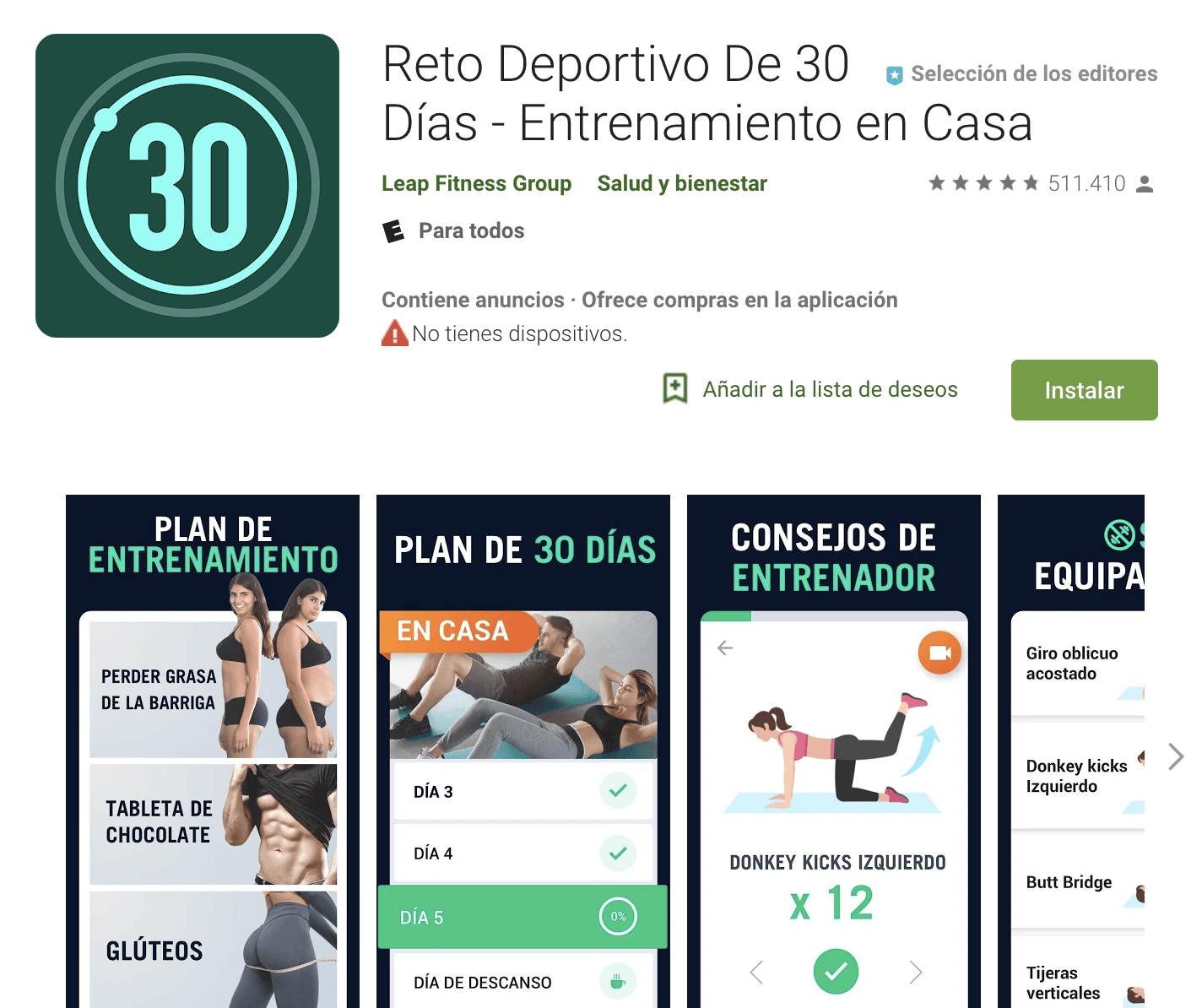 Reto ejercicio 30 dias