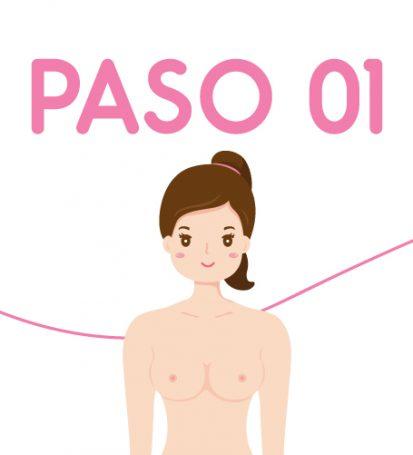 Ilustración paso 1 autoexamen de seno