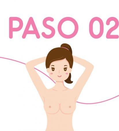 Ilustración paso a paso 2 autoexamen de seno