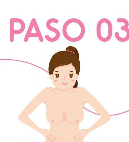 Ilustración paso 2 de autoexamen de seno