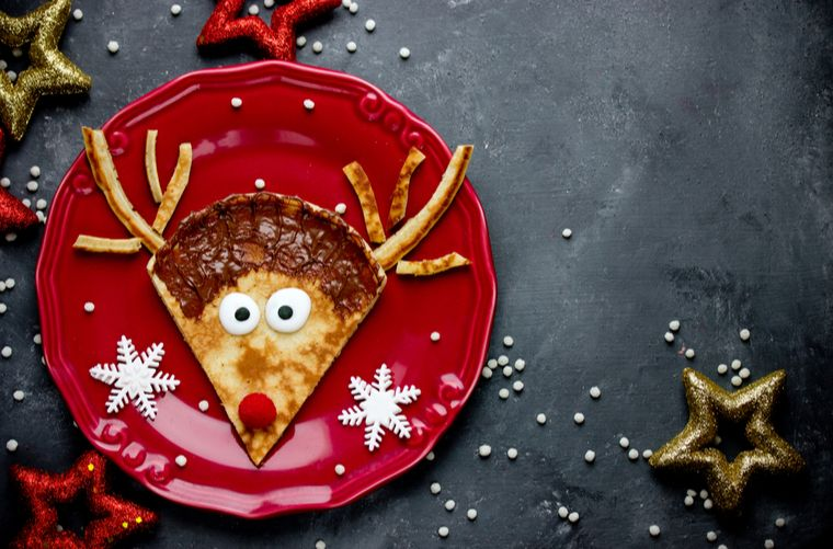 Pancakes de reno navideño para celebrar