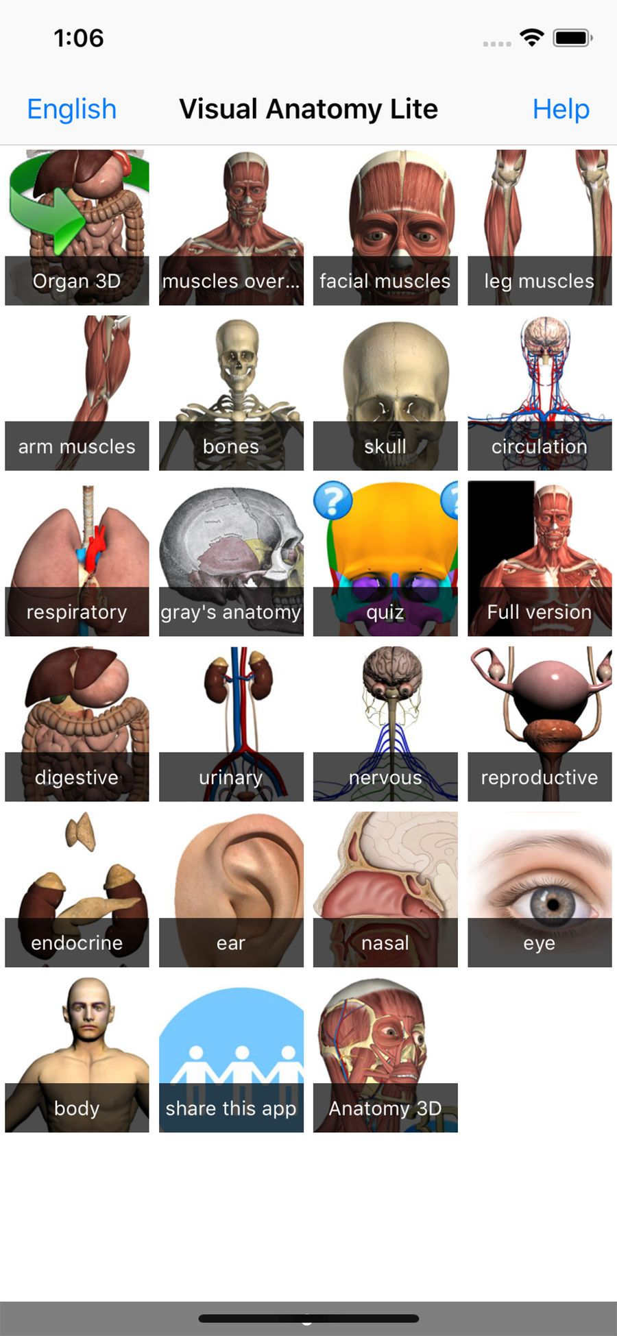 aplicación Visual Anatomy Free