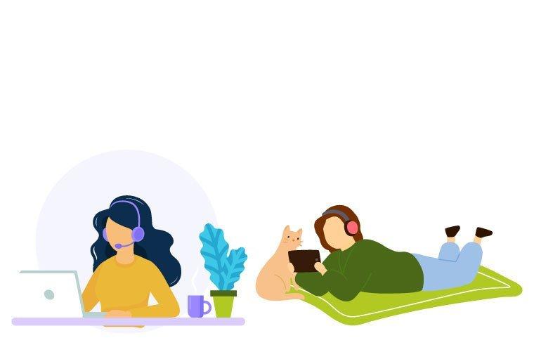 Ilustración personas escuchando podcast
