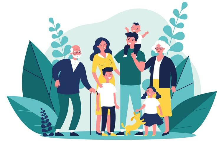 Ilustración de familia valorando a su adulto mayor