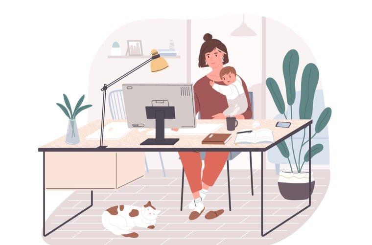 Ilustración madres trabajando en casa