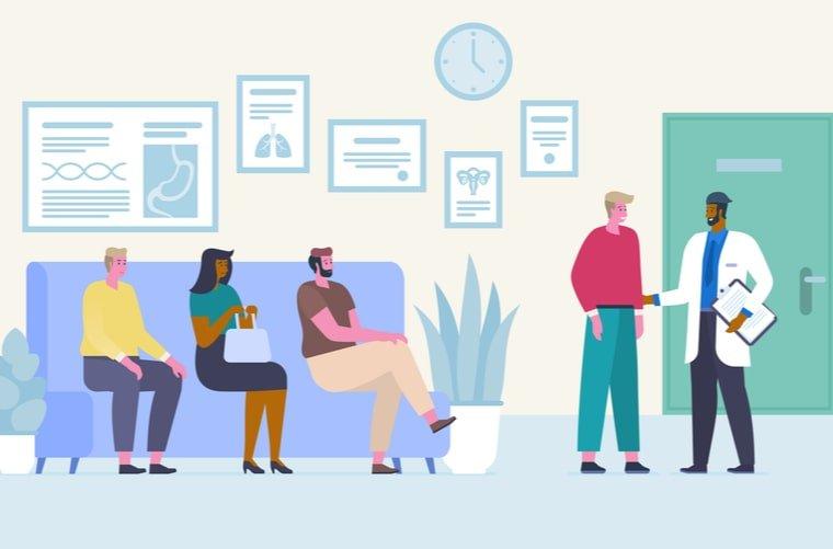 Ilustración médico atendiendo pacientes