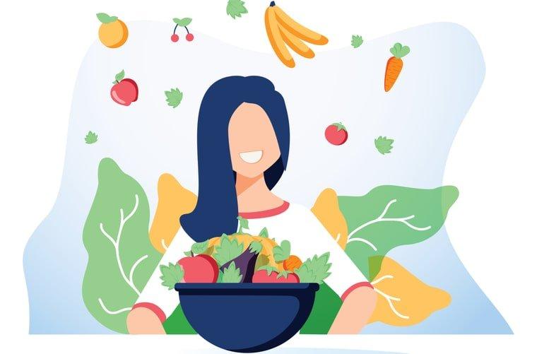 Infografía mujer comiendo saludable- alimentación saludable