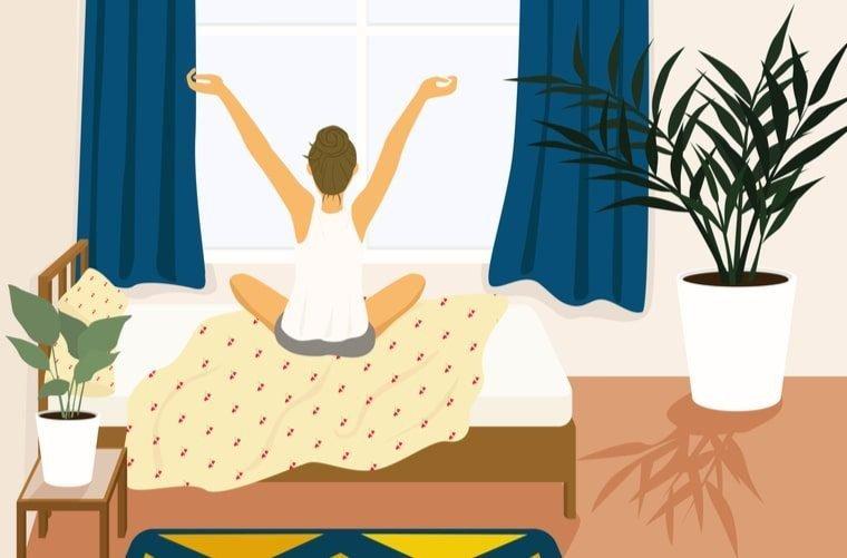 Ilustración de mujer disfrutando los beneficios de madrugar