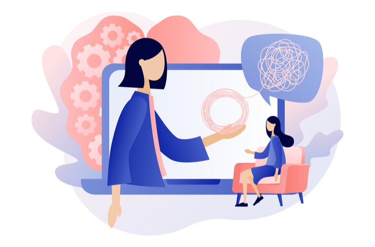 Ilustración visita al psicólogo