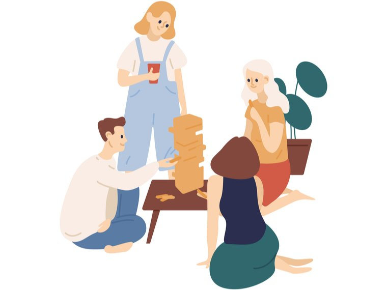 Ilustración familia cuidando su salud mental