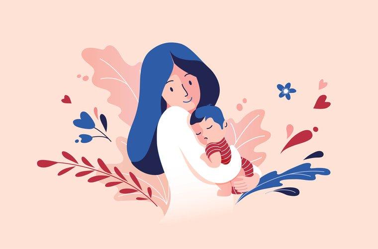 Ilustración madre con hijo