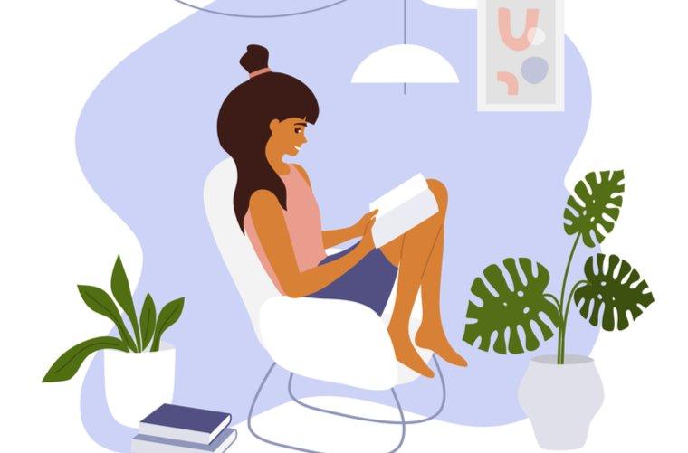 Mujer en su casa tranquila - hogar limpio