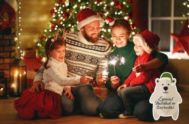 Familia disfrutado las celebraciones de fin de año