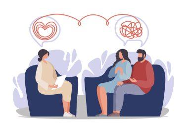 Ilustración de terapia de pareja
