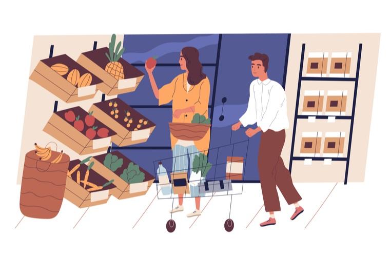 compras para hábitos de alimentación saludables