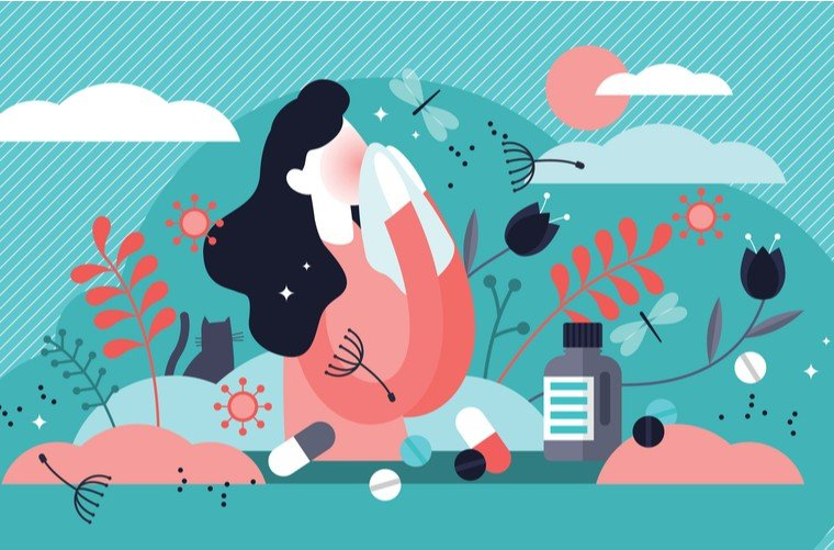 Ilustración mujer con rinofaringitis