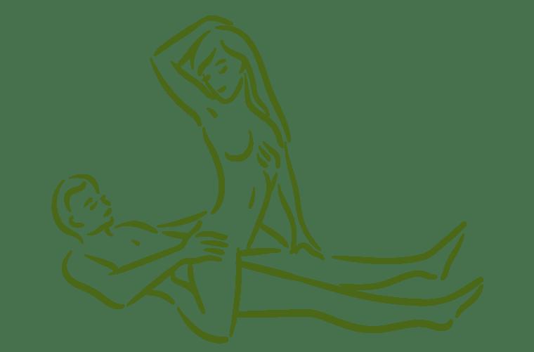 Ilustración de posición sexual la vaquera