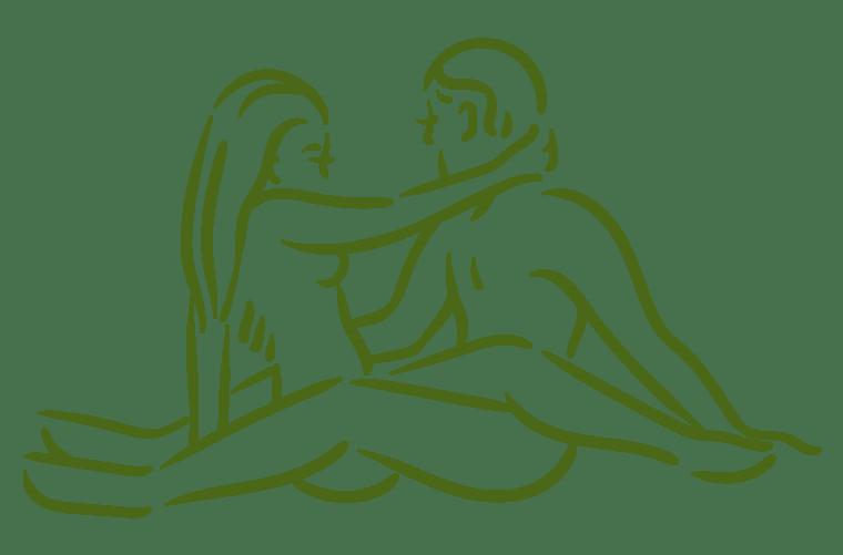 Ilustración de posición sexual la mecedora